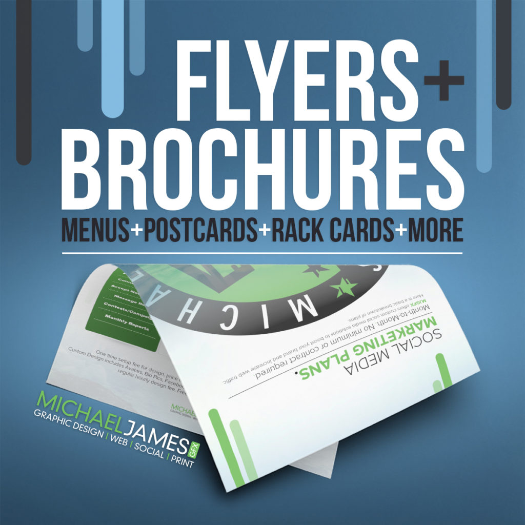 Flyer brochure designs michaeljamesgfx llc flyer brochure design services dont limit yourself to just a standard trifold brochure or flyer design we also offer custom postcards proposals solutioingenieria Choice Image
